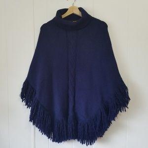 Modena | Blue Poncho/Cape Cable Knit w Fringe